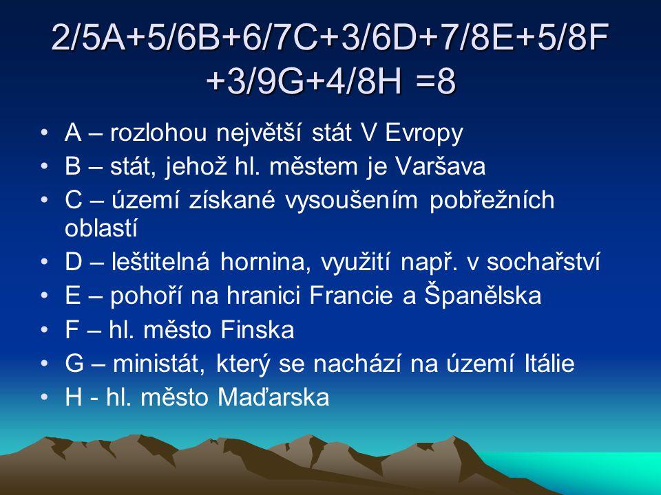 2/5A+5/6B+6/7C+3/6D+7/8E+5/8F +3/9G+4/8H =8 A – rozlohou největší stát V Evropy B – stát, jehož hl. městem je Varšava C – území získané vysoušením pob