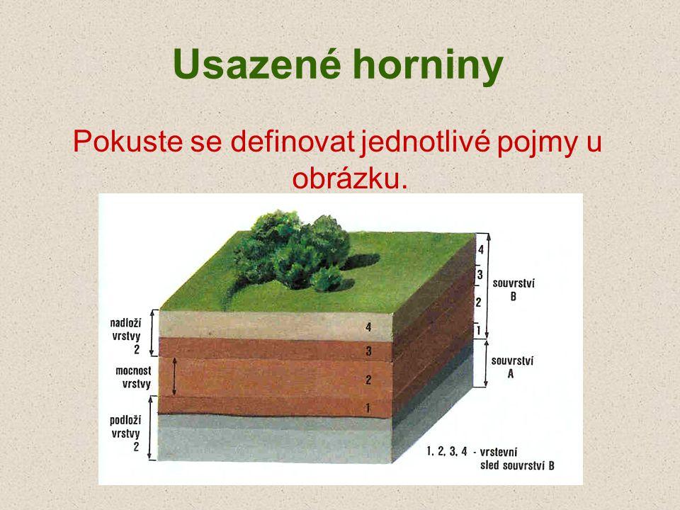 Usazené horniny Pokuste se definovat jednotlivé pojmy u obrázku.