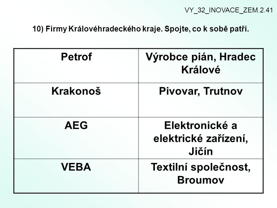 10) Firmy Královéhradeckého kraje.Spojte, co k sobě patří.