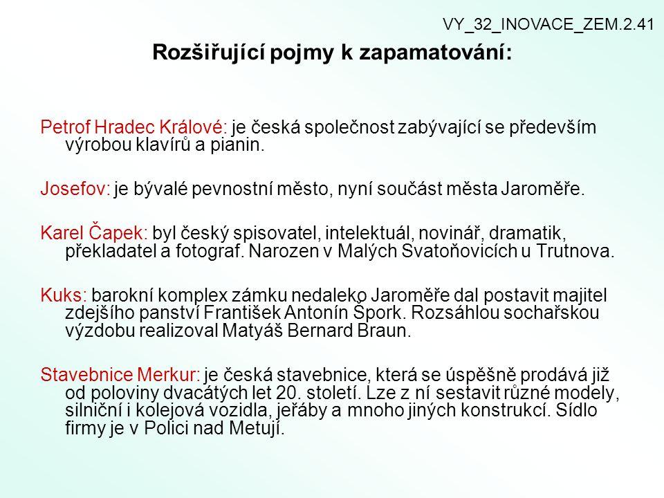 Rozšiřující pojmy k zapamatování: Petrof Hradec Králové: je česká společnost zabývající se především výrobou klavírů a pianin.