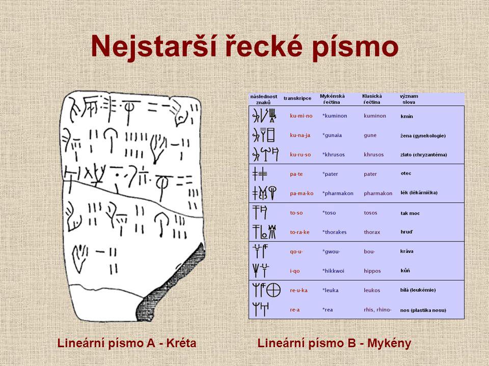 Nejstarší řecké písmo Lineární písmo A - KrétaLineární písmo B - Mykény