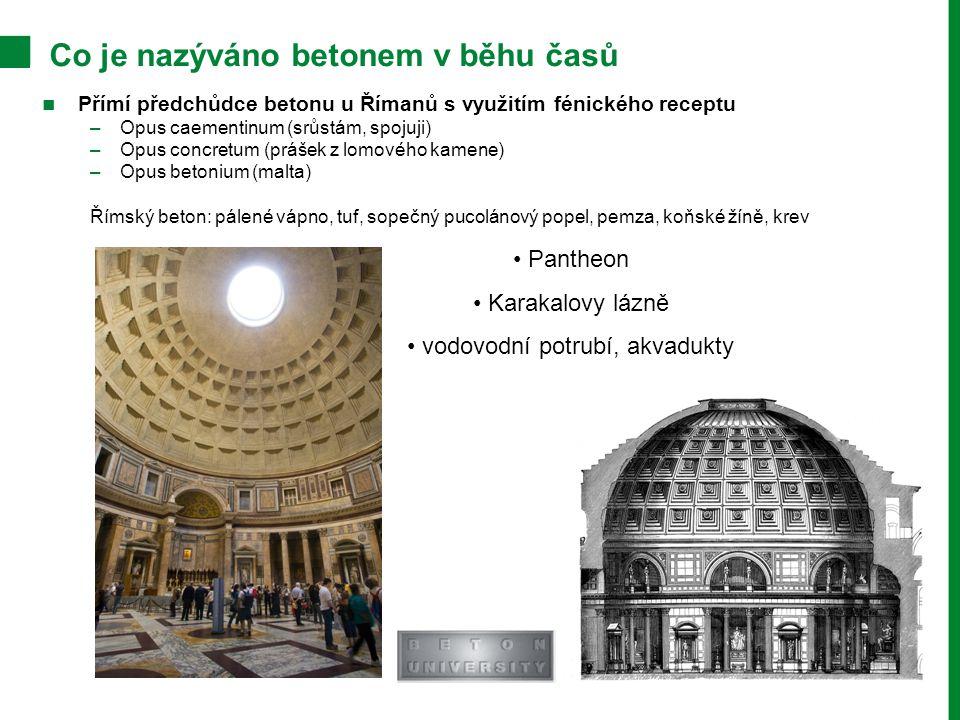 Přímí předchůdce betonu u Římanů s využitím fénického receptu –Opus caementinum (srůstám, spojuji) –Opus concretum (prášek z lomového kamene) –Opus betonium (malta) Římský beton: pálené vápno, tuf, sopečný pucolánový popel, pemza, koňské žíně, krev Co je nazýváno betonem v běhu časů Pantheon Karakalovy lázně vodovodní potrubí, akvadukty