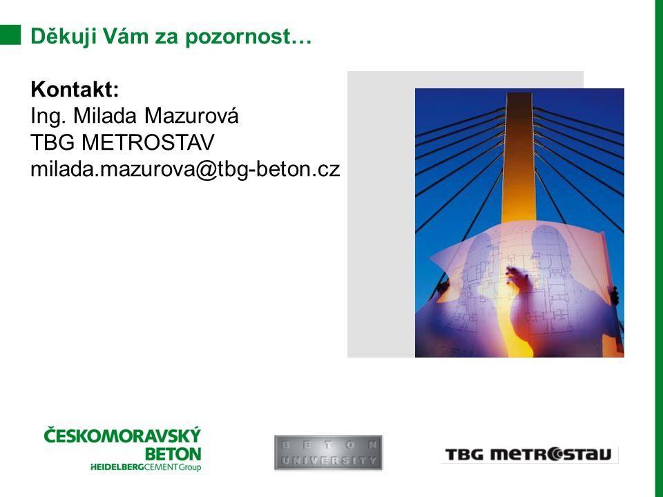 Děkuji Vám za pozornost… Kontakt: Ing. Milada Mazurová TBG METROSTAV milada.mazurova@tbg-beton.cz