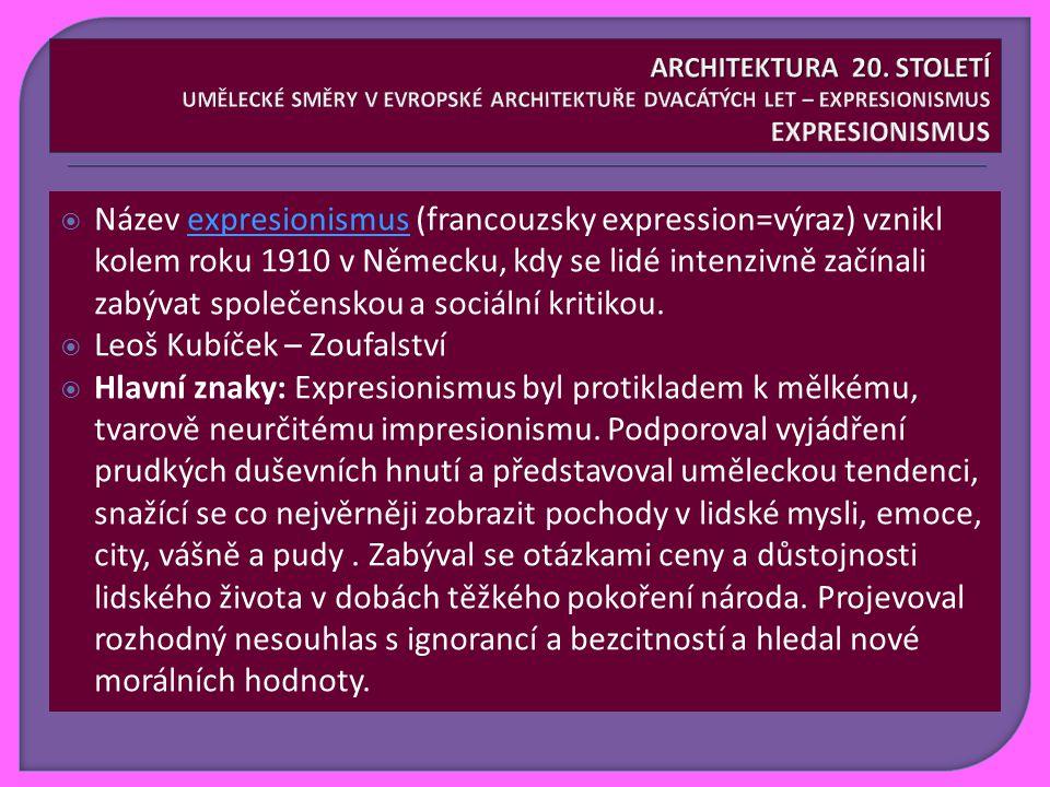  Název expresionismus (francouzsky expression=výraz) vznikl kolem roku 1910 v Německu, kdy se lidé intenzivně začínali zabývat společenskou a sociální kritikou.expresionismus  Leoš Kubíček – Zoufalství  Hlavní znaky: Expresionismus byl protikladem k mělkému, tvarově neurčitému impresionismu.