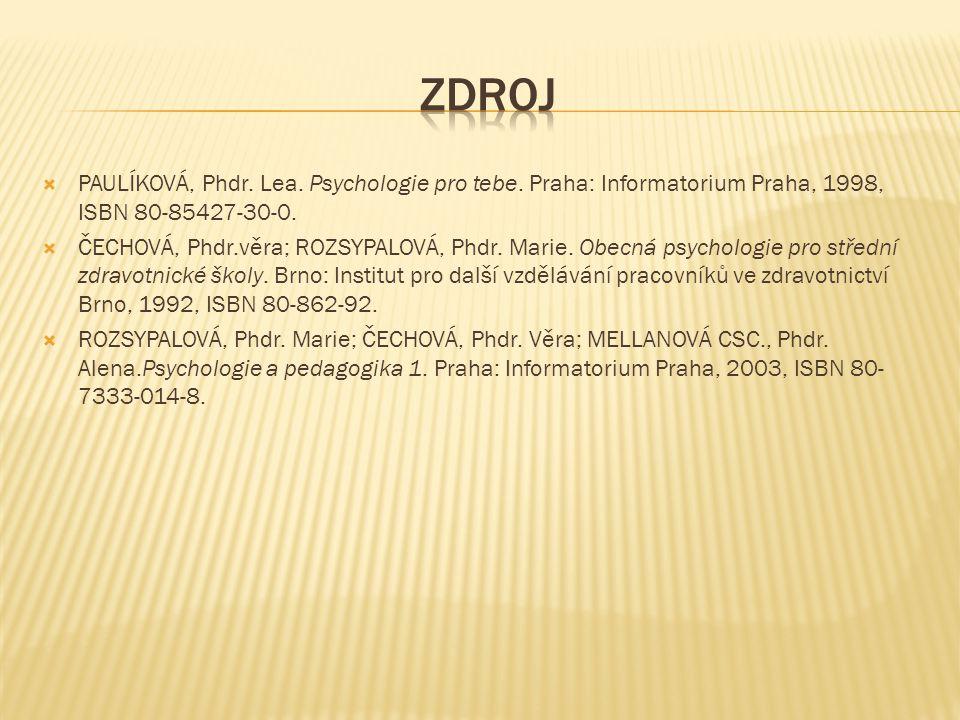  PAULÍKOVÁ, Phdr.Lea. Psychologie pro tebe. Praha: Informatorium Praha, 1998, ISBN 80-85427-30-0.