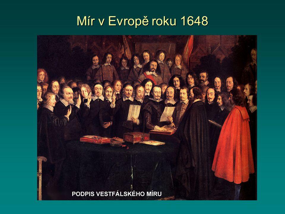 Mír mezi katolíky a protestanty dobová rytina Poštovní jezdec ohlašuje mír mezi Francií, Švédskem a Svatou římskou říší.