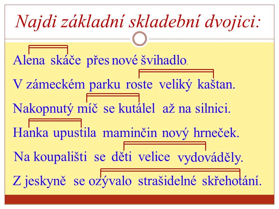 Základní skladební dvojice v souv ětí Na trávníku si hrályděti Alík Tatínekse ptal maminky, kdy uvařený oběd.