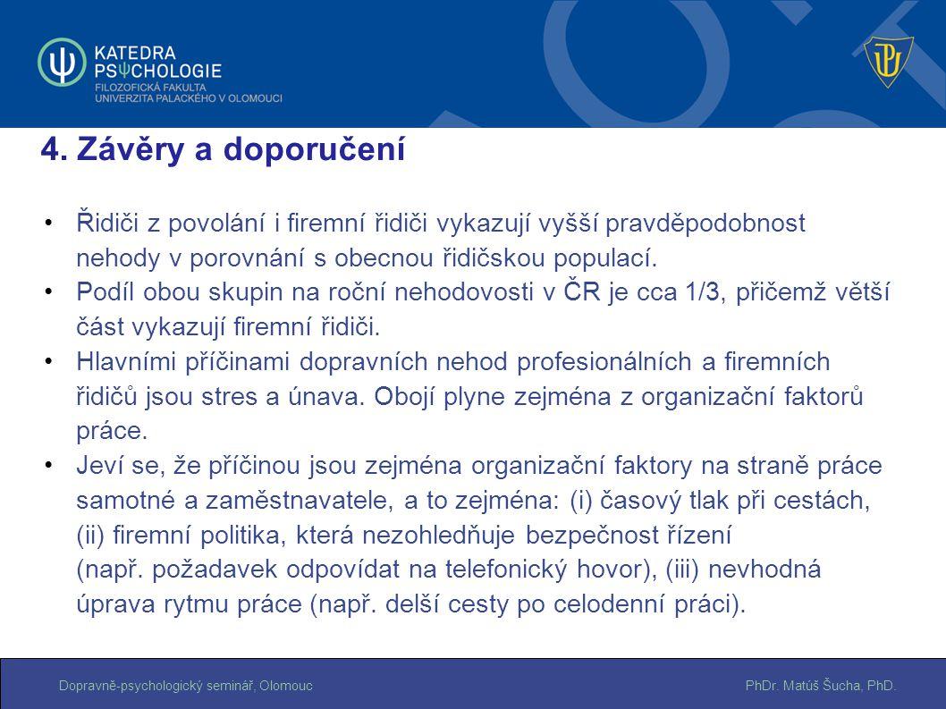 PhDr. Matúš Šucha, PhD.Dopravně-psychologický seminář, Olomouc Řidiči z povolání i firemní řidiči vykazují vyšší pravděpodobnost nehody v porovnání s
