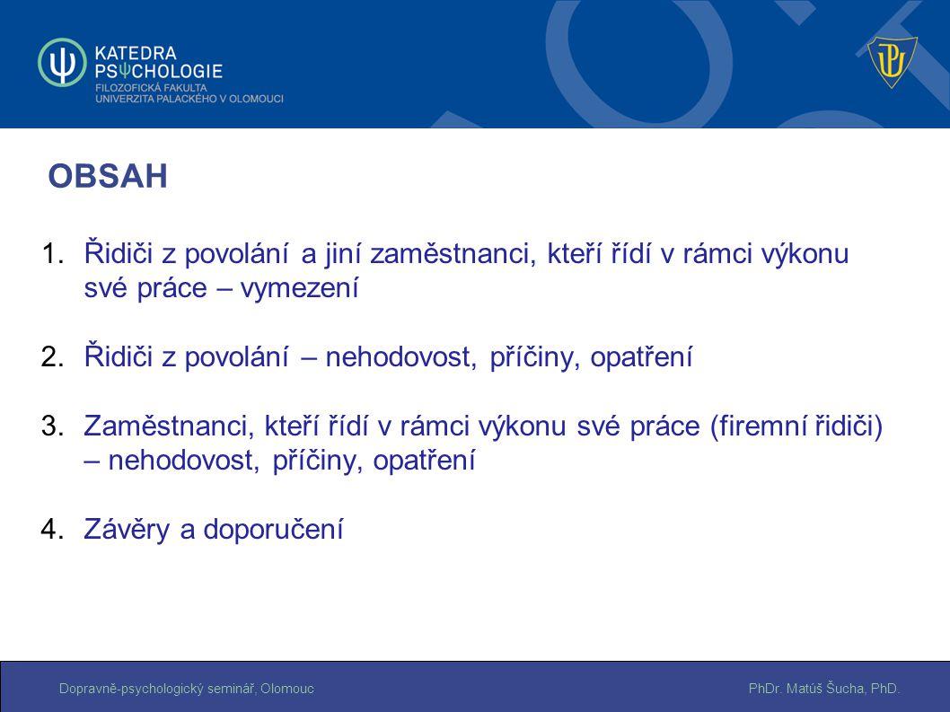 PhDr. Matúš Šucha, PhD.Dopravně-psychologický seminář, Olomouc OBSAH 1.Řidiči z povolání a jiní zaměstnanci, kteří řídí v rámci výkonu své práce – vym