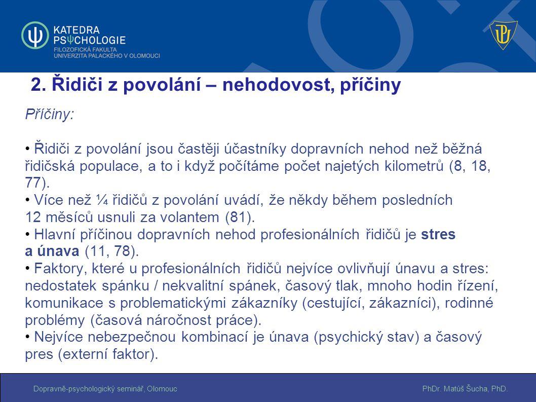PhDr. Matúš Šucha, PhD.Dopravně-psychologický seminář, Olomouc Příčiny: Řidiči z povolání jsou častěji účastníky dopravních nehod než běžná řidičská p