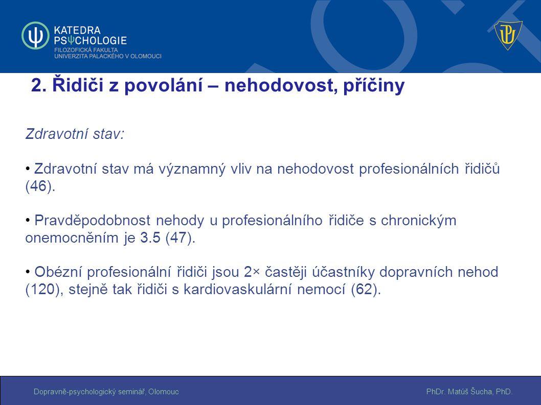 PhDr. Matúš Šucha, PhD.Dopravně-psychologický seminář, Olomouc Zdravotní stav: Zdravotní stav má významný vliv na nehodovost profesionálních řidičů (4