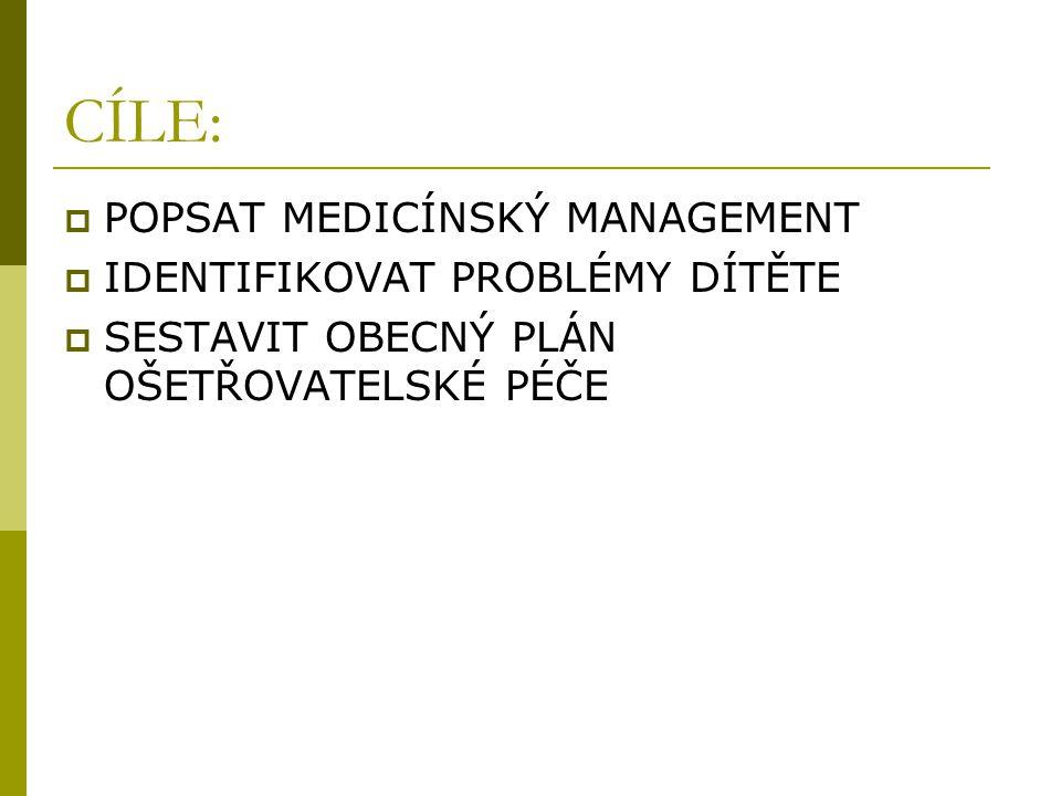 CÍLE:  POPSAT MEDICÍNSKÝ MANAGEMENT  IDENTIFIKOVAT PROBLÉMY DÍTĚTE  SESTAVIT OBECNÝ PLÁN OŠETŘOVATELSKÉ PÉČE