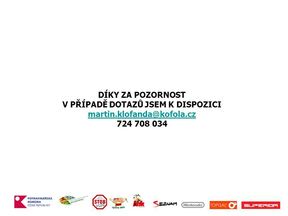 DÍKY ZA POZORNOST V PŘÍPADĚ DOTAZŮ JSEM K DISPOZICI martin.klofanda@kofola.cz 724 708 034 martin.klofanda@kofola.cz