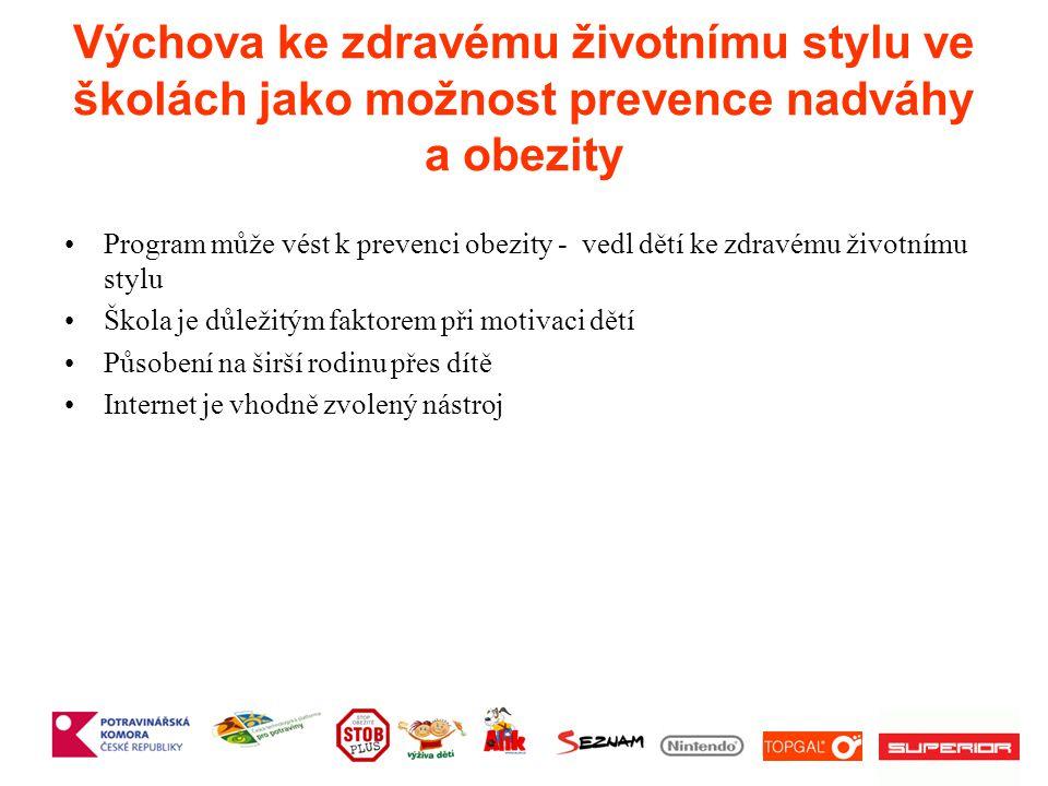 Výchova ke zdravému životnímu stylu ve školách jako možnost prevence nadváhy a obezity Program může vést k prevenci obezity - vedl dětí ke zdravému životnímu stylu Škola je důležitým faktorem při motivaci dětí Působení na širší rodinu přes dítě Internet je vhodně zvolený nástroj