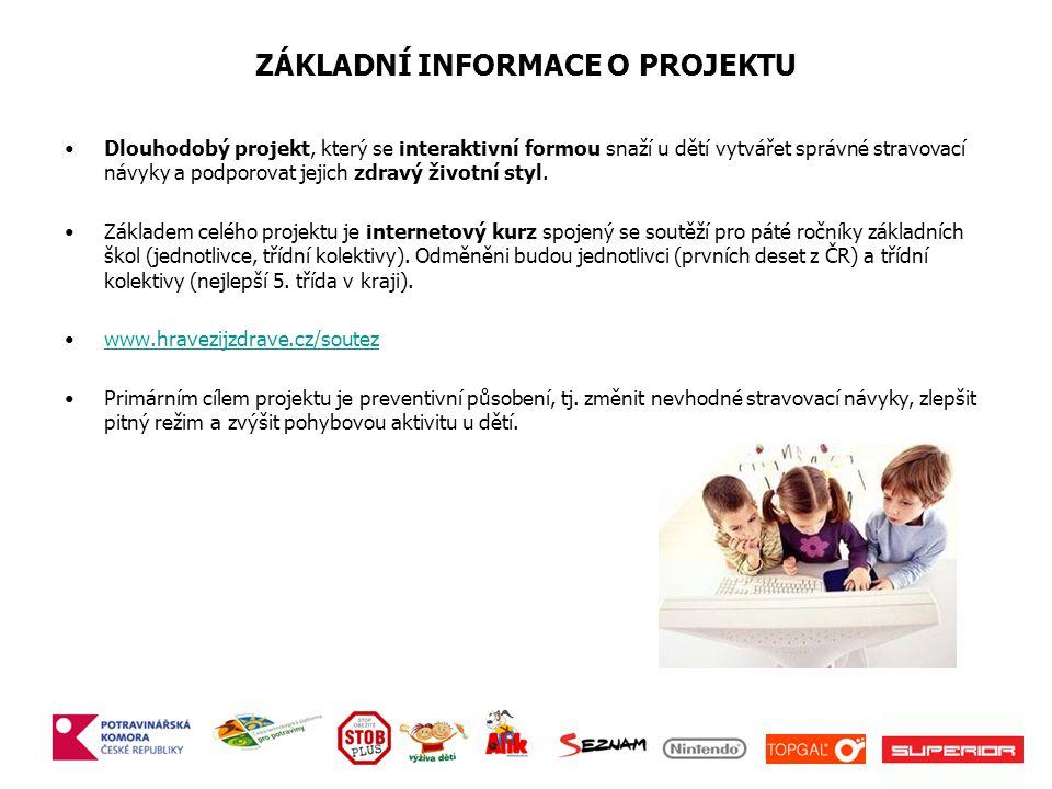 ZÁKLADNÍ INFORMACE O PROJEKTU Dlouhodobý projekt, který se interaktivní formou snaží u dětí vytvářet správné stravovací návyky a podporovat jejich zdravý životní styl.