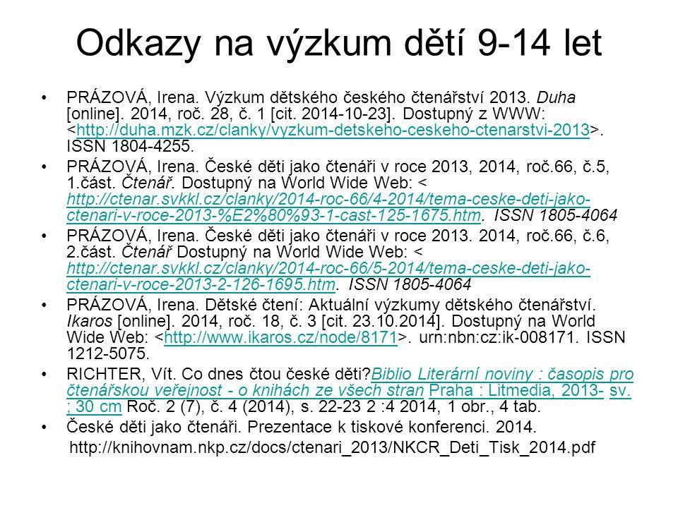 Odkazy na výzkum dětí 9-14 let PRÁZOVÁ, Irena. Výzkum dětského českého čtenářství 2013. Duha [online]. 2014, roč. 28, č. 1 [cit. 2014-10-23]. Dostupný
