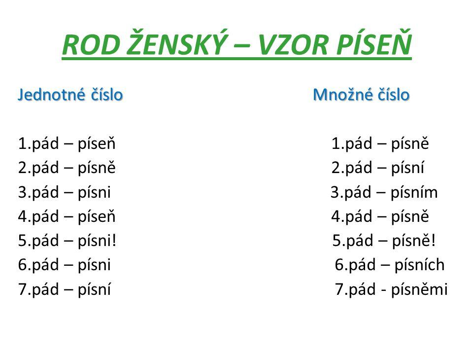 ROD ŽENSKÝ – VZOR PÍSEŇ Jednotné číslo Množné číslo 1.pád – píseň 1.pád – písně 2.pád – písně 2.pád – písní 3.pád – písni 3.pád – písním 4.pád – píseň 4.pád – písně 5.pád – písni.