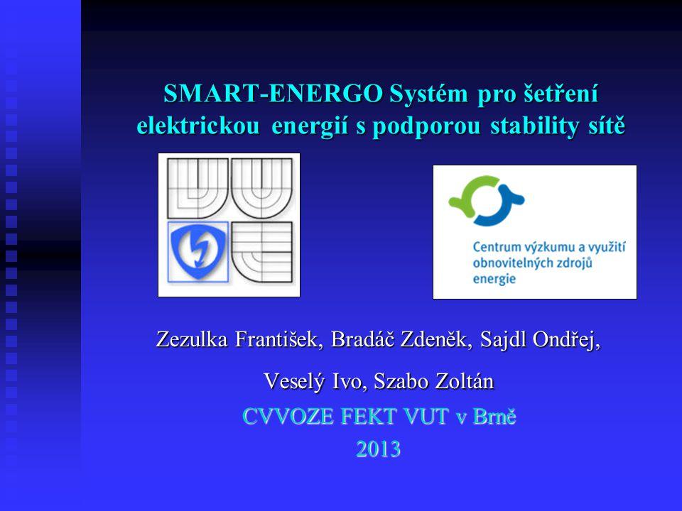 SMART-ENERGO Systém pro šetření elektrickou energií s podporou stability sítě Zezulka František, Bradáč Zdeněk, Sajdl Ondřej, Veselý Ivo, Szabo Zoltán