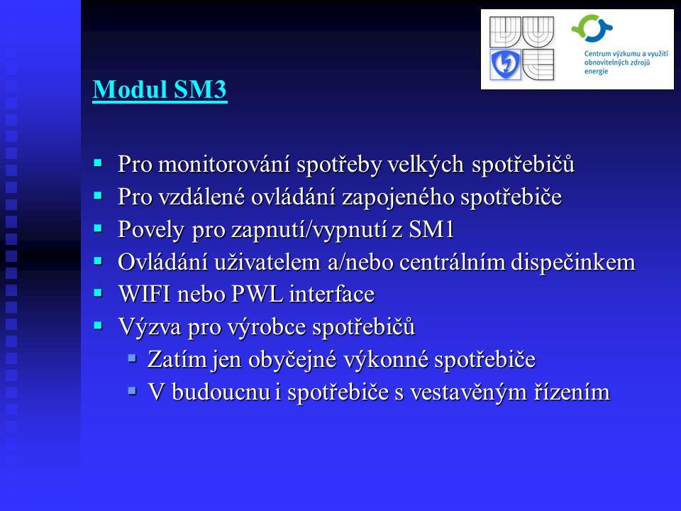 Modul SM3  Pro monitorování spotřeby velkých spotřebičů  Pro vzdálené ovládání zapojeného spotřebiče  Povely pro zapnutí/vypnutí z SM1  Ovládání u