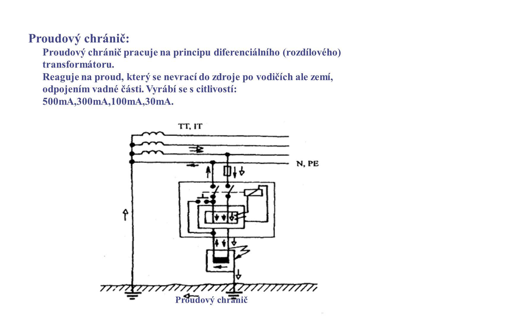 Proudový chránič: Proudový chránič pracuje na principu diferenciálního (rozdílového) transformátoru. Reaguje na proud, který se nevrací do zdroje po v