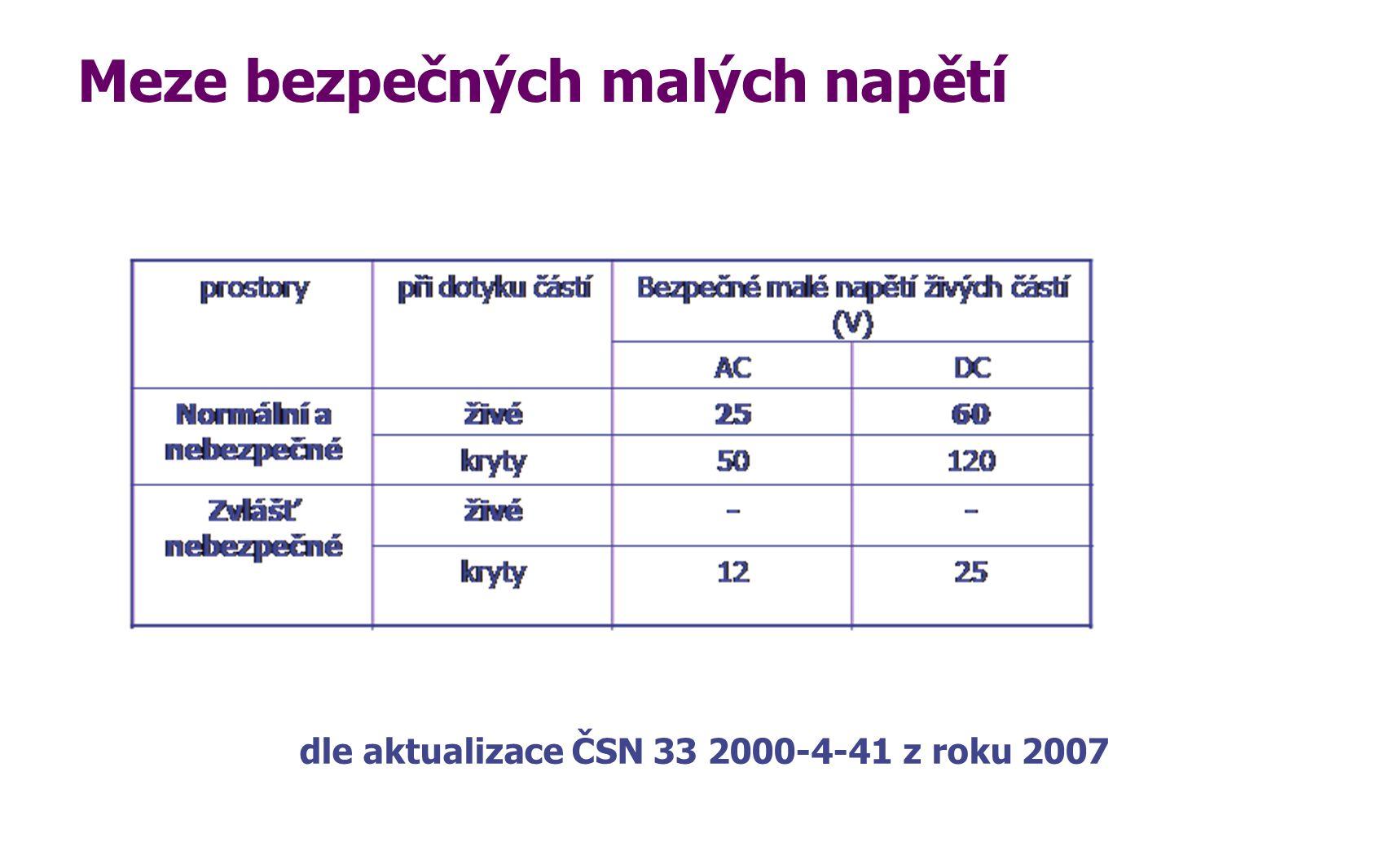 Meze bezpečných malých napětí dle aktualizace ČSN 33 2000-4-41 z roku 2007
