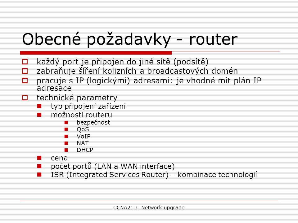 CCNA2: 3. Network upgrade Obecné požadavky - router  každý port je připojen do jiné sítě (podsítě)  zabraňuje šíření kolizních a broadcastových domé