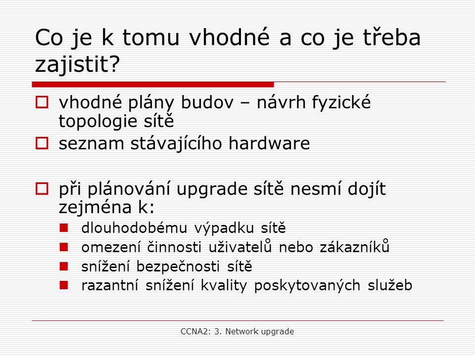 CCNA2: 3. Network upgrade Co je k tomu vhodné a co je třeba zajistit?  vhodné plány budov – návrh fyzické topologie sítě  seznam stávajícího hardwar