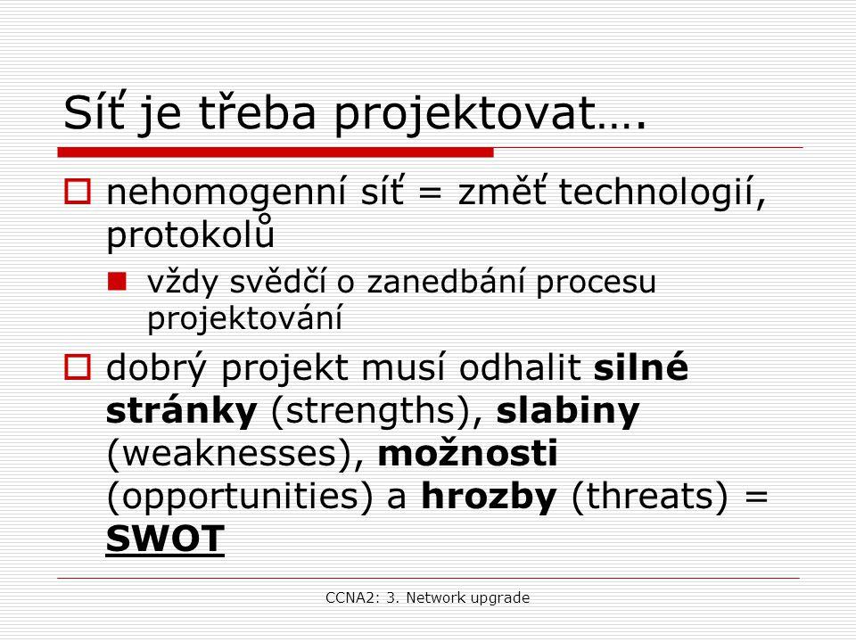 CCNA2: 3. Network upgrade Síť je třeba projektovat….  nehomogenní síť = změť technologií, protokolů vždy svědčí o zanedbání procesu projektování  do