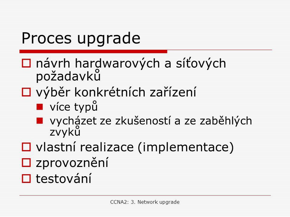 CCNA2: 3. Network upgrade Proces upgrade  návrh hardwarových a síťových požadavků  výběr konkrétních zařízení více typů vycházet ze zkušeností a ze