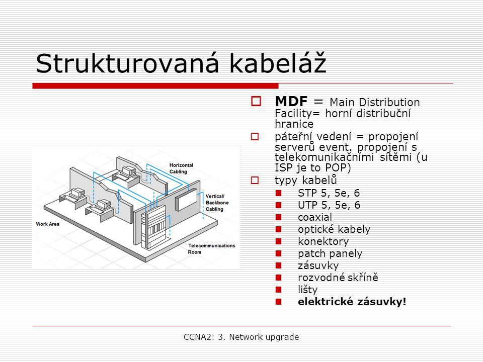 CCNA2: 3. Network upgrade Strukturovaná kabeláž  MDF = Main Distribution Facility= horní distribuční hranice  páteřní vedení = propojení serverů eve