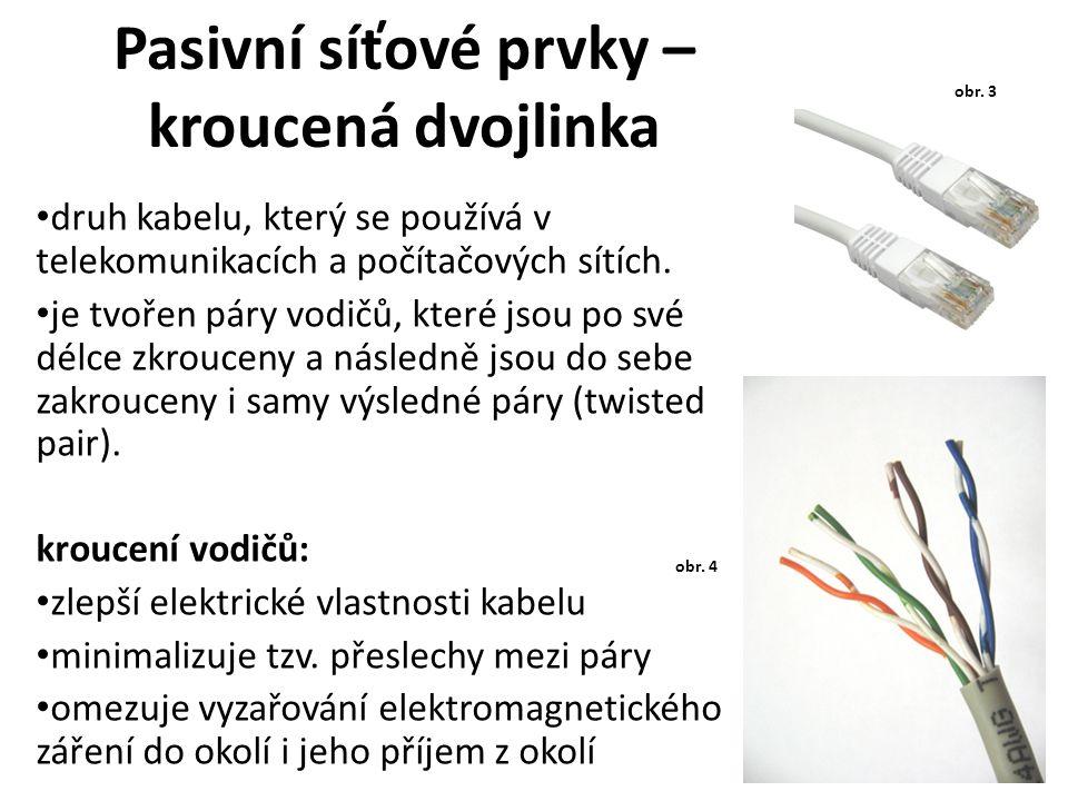 Pasivní síťové prvky – kroucená dvojlinka druh kabelu, který se používá v telekomunikacích a počítačových sítích. je tvořen páry vodičů, které jsou po
