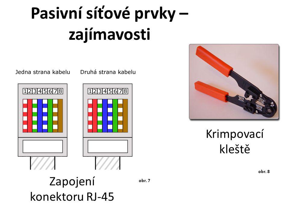 Pasivní síťové prvky – zajímavosti Krimpovací kleště Zapojení konektoru RJ-45 obr. 7 obr. 8