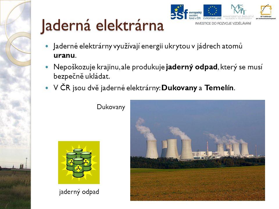 Jaderná elektrárna Jaderné elektrárny využívají energii ukrytou v jádrech atomů uranu. Nepoškozuje krajinu, ale produkuje jaderný odpad, který se musí