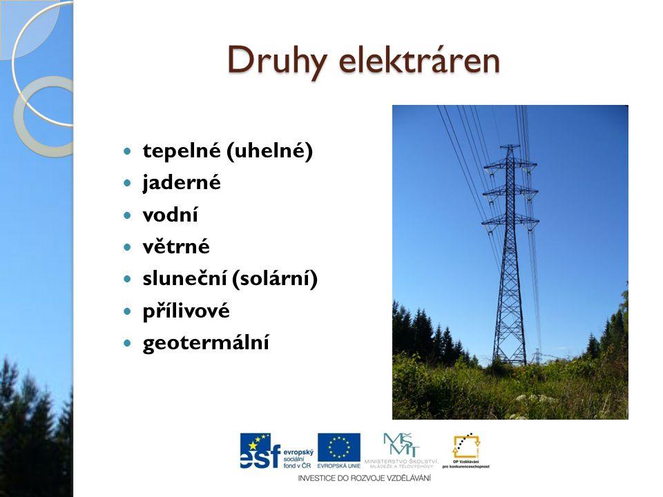 Druhy elektráren tepelné (uhelné) jaderné vodní větrné sluneční (solární) přílivové geotermální