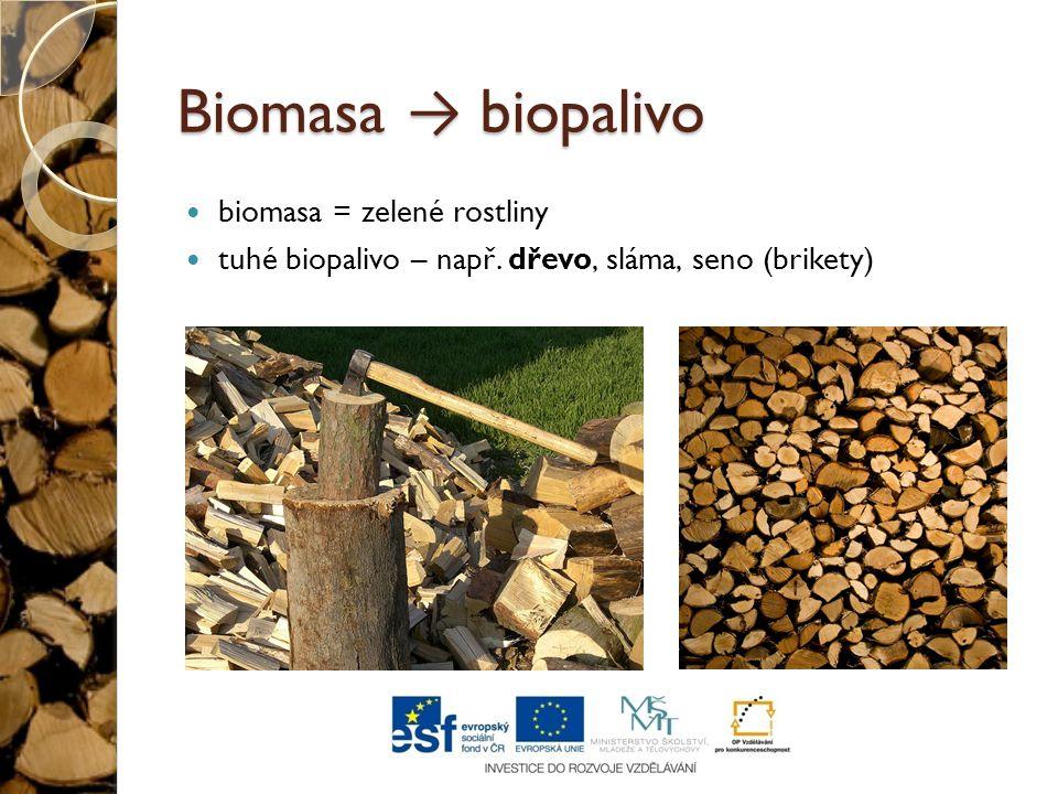 Biomasa → biopalivo biomasa = zelené rostliny tuhé biopalivo – např. dřevo, sláma, seno (brikety)