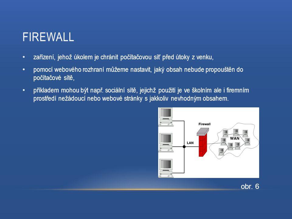 FIREWALL zařízení, jehož úkolem je chránit počítačovou síť před útoky z venku, pomocí webového rozhraní můžeme nastavit, jaký obsah nebude propouštěn do počítačové sítě, příkladem mohou být např.