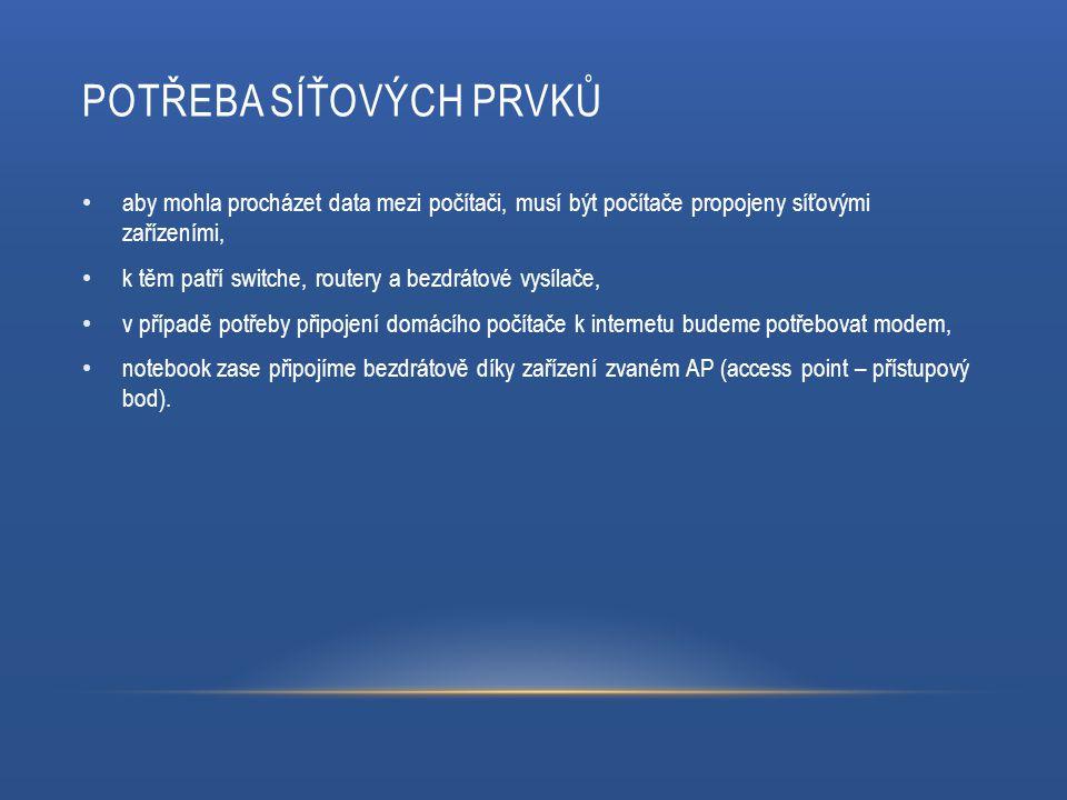 POTŘEBA SÍŤOVÝCH PRVKŮ aby mohla procházet data mezi počítači, musí být počítače propojeny síťovými zařízeními, k těm patří switche, routery a bezdrátové vysílače, v případě potřeby připojení domácího počítače k internetu budeme potřebovat modem, notebook zase připojíme bezdrátově díky zařízení zvaném AP (access point – přístupový bod).