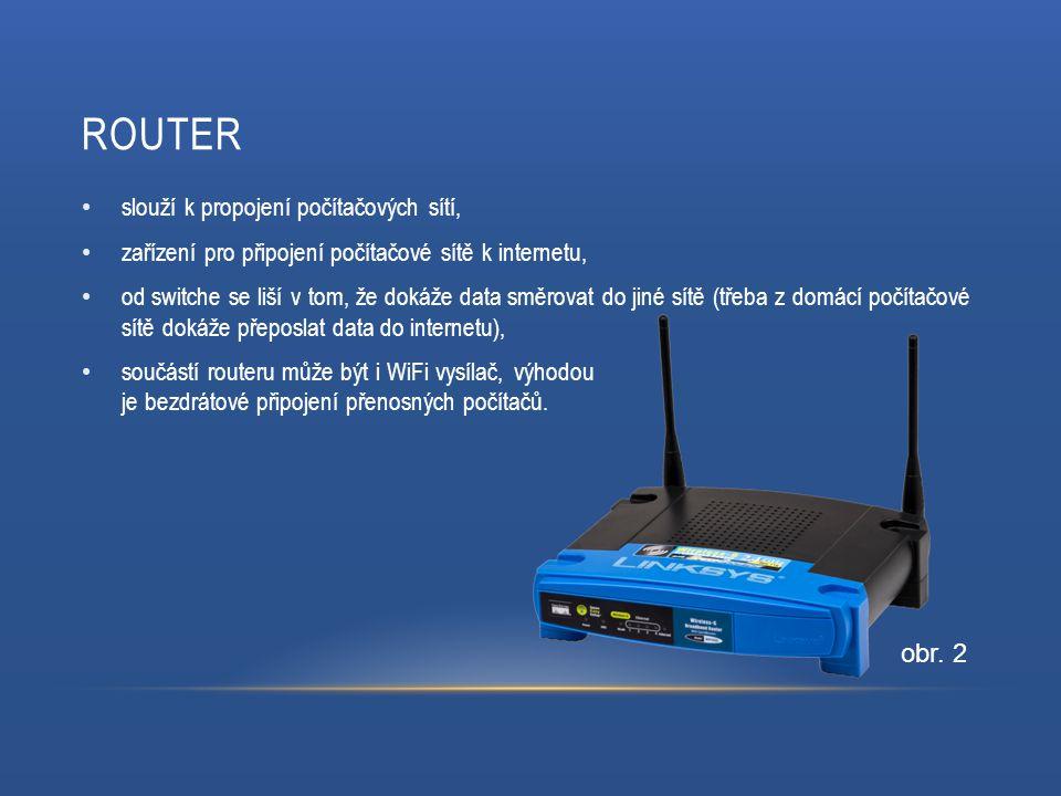 ROUTER slouží k propojení počítačových sítí, zařízení pro připojení počítačové sítě k internetu, od switche se liší v tom, že dokáže data směrovat do jiné sítě (třeba z domácí počítačové sítě dokáže přeposlat data do internetu), součástí routeru může být i WiFi vysílač, výhodou je bezdrátové připojení přenosných počítačů.