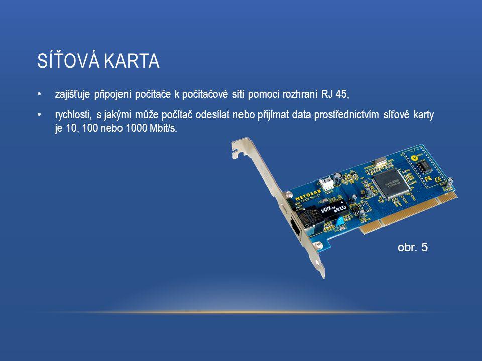SÍŤOVÁ KARTA zajišťuje připojení počítače k počítačové síti pomocí rozhraní RJ 45, rychlosti, s jakými může počítač odesílat nebo přijímat data prostřednictvím síťové karty je 10, 100 nebo 1000 Mbit/s.