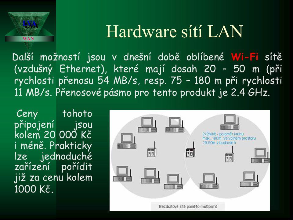Hardware sítí LAN t bezdrátový spoj ( úzce směrovaný infračervený nebo laserový paprsek, případně všesměrový radiový spoj, dosah v přímé viditelnosti cca 100 až 20 000 m., drahé s různou přenosovou rychlostí ovlivňovanou meteorologickými i jinými vlivy) V dnešní době se především používají bezdrátové sítě na frekvenci 2 Ghz.
