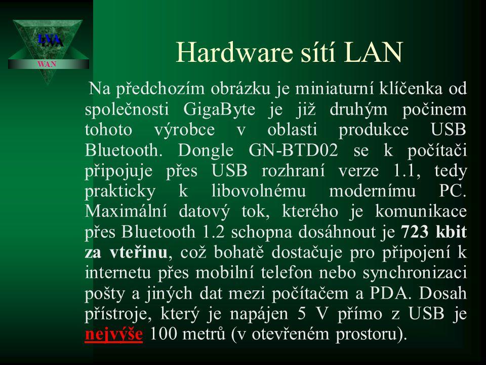 Hardware sítí LAN Neplést předchozí typy bezdrátových sítí se sítí typu BlueTooth, které jsou známy spíše z oblasti mobilních telefonů a mají reálný dosah spíše desítek metrů .