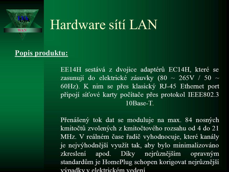 Hardware sítí LAN LVALVA WAN Technické parametry: Podporované OS: Me, 98SE, 2000, XP Přenosové rychlosti: 14 MB/s Rozhraní: RJ-45 Popis produktu: Microstar HomePlug EE14H je zařízení, které umožňuje vytvoření ethernetové sítě přes stávající rozvody 220V.