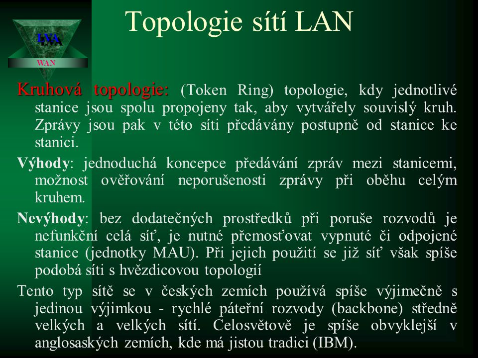 Topologie sítí LAN Společným rysem sběrnicové i hvězdicové topologie je to, že zpráva vyslaná jednou stanicí se šíří po celém vedení (nejsou-li zde speciální prvky - SWITCH, ROATER), přičemž ji přijímá pouze ta stanice, pro kterou je zpráva určena.