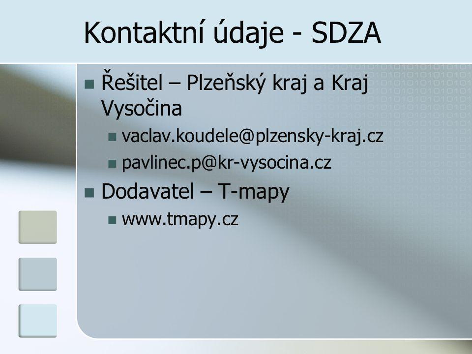 Kontaktní údaje - SDZA Řešitel – Plzeňský kraj a Kraj Vysočina vaclav.koudele@plzensky-kraj.cz pavlinec.p@kr-vysocina.cz Dodavatel – T-mapy www.tmapy.