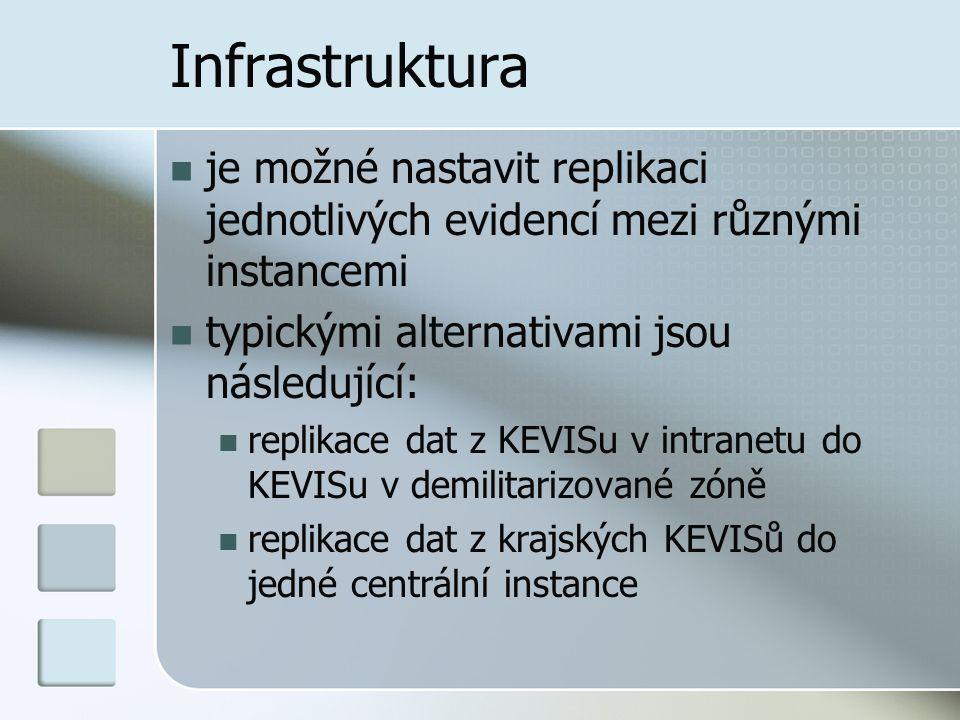 Infrastruktura je možné nastavit replikaci jednotlivých evidencí mezi různými instancemi typickými alternativami jsou následující: replikace dat z KEV
