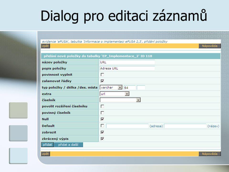 Dialog pro editaci záznamů