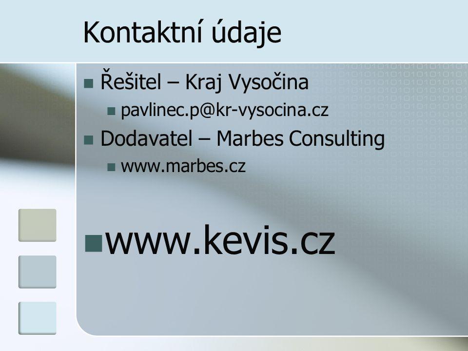 Kontaktní údaje Řešitel – Kraj Vysočina pavlinec.p@kr-vysocina.cz Dodavatel – Marbes Consulting www.marbes.cz www.kevis.cz