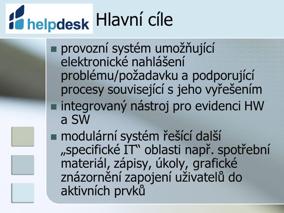 Hlavní cíle provozní systém umožňující elektronické nahlášení problému/požadavku a podporující procesy související s jeho vyřešením integrovaný nástro