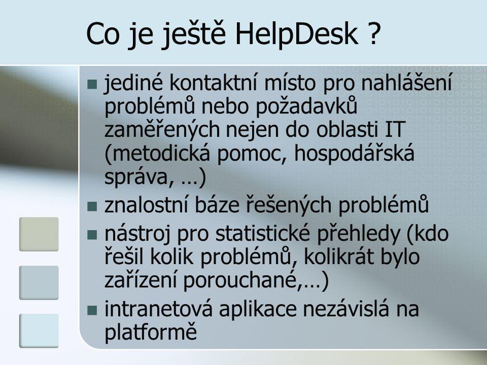 Co je ještě HelpDesk ? jediné kontaktní místo pro nahlášení problémů nebo požadavků zaměřených nejen do oblasti IT (metodická pomoc, hospodářská správ