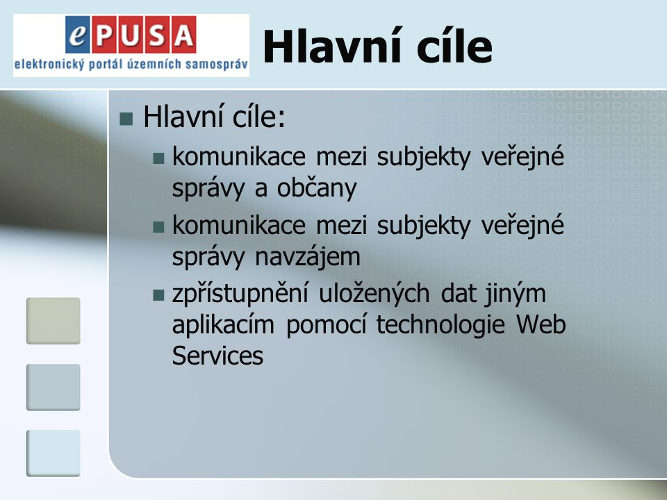 Hlavní cíle Hlavní cíle: komunikace mezi subjekty veřejné správy a občany komunikace mezi subjekty veřejné správy navzájem zpřístupnění uložených dat